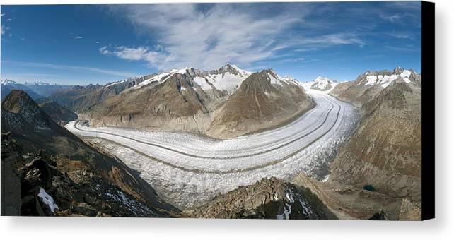 Aletsch Glacier Canvas Print featuring the photograph Aletsch Glacier, Switzerland by Dr Juerg Alean