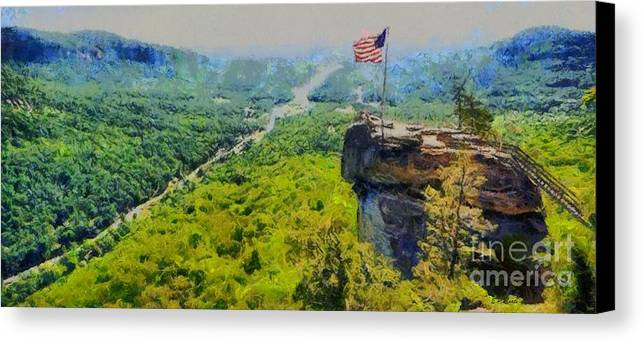 Chimney Rock North Carolina Canvas Print featuring the painting Chimney Rock Nc by Elizabeth Coats