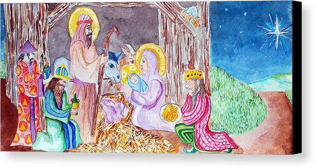 Christ Canvas Print featuring the painting Nativity by Jame Hayes