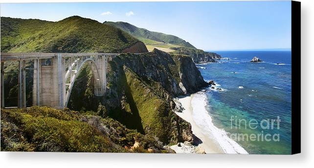 Bixby Bridge Canvas Print featuring the photograph Bixby Bridge Near Big Sur On Highway One In California by Artist and Photographer Laura Wrede