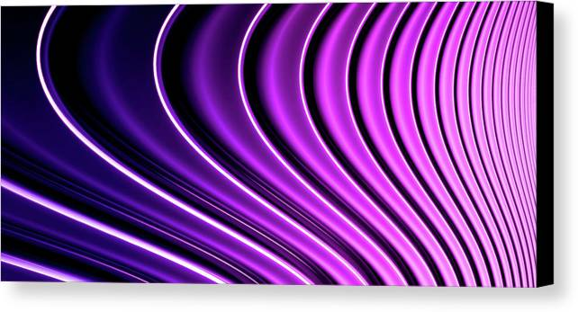 Horizontal Canvas Print featuring the digital art Abstract Curved Lines, Diminishing Perspective by Ralf Hiemisch