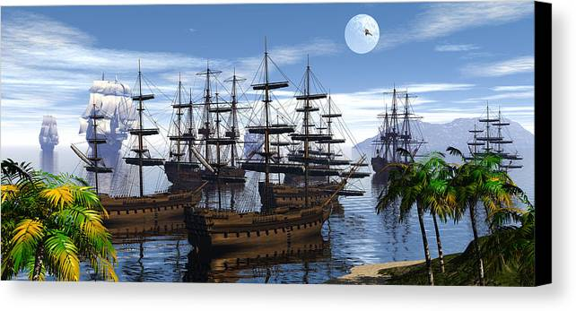 Bryce Canvas Print featuring the digital art Whaling Off Lahaina 2 by Claude McCoy