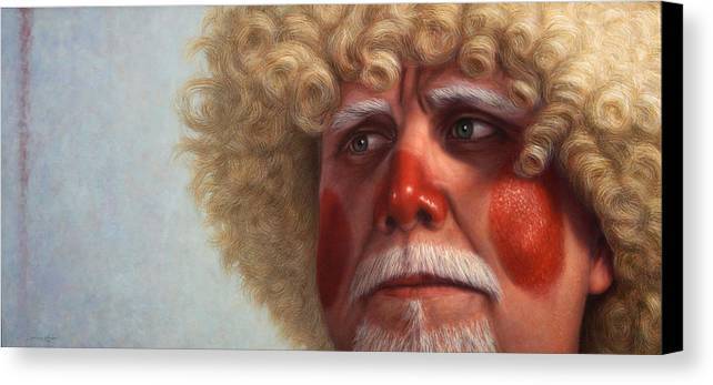 Clown Canvas Print featuring the painting Concerned by James W Johnson