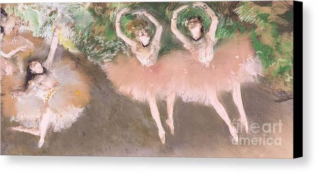 Scene; Ballet; Impressionist; Dance; Dancer; Dancers; Dancing; Ballerina; Ballerinas; Print; Printmaking; Green; Pink; Movement; Grace; Performance; Entertainment; Paris; Parisian; Belle Epoque; Tutu; Tutus; Female; En Pointe; Impressionistic Canvas Print featuring the pastel Scene De Ballet by Edgar Degas