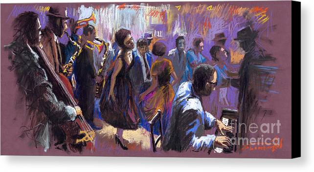 Jazz.pastel Canvas Print featuring the painting Jazz by Yuriy Shevchuk