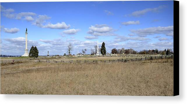 Gettysburg Canvas Print featuring the photograph Battlefield At Gettysburg National Military Park by Brendan Reals