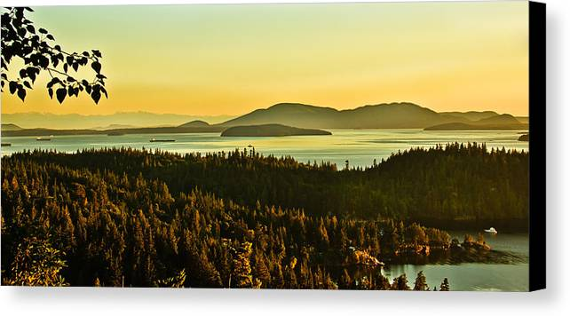 Sunrise Canvas Print featuring the photograph Sunrise Over Bellingham Bay by Robert Bales