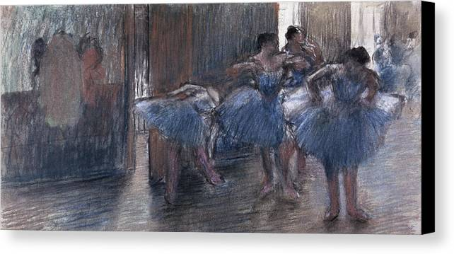 Dancers (pastel) By Edgar Degas (1834-1917) Canvas Print featuring the painting Dancers by Edgar Degas