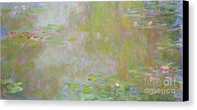 Waterlilies At Giverny Canvas Print featuring the painting Waterlilies At Giverny by Claude Monet
