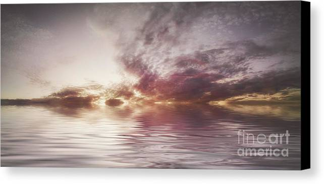 Black & White Canvas Print featuring the photograph Reflection Of Mauve Skies by Holly Martin