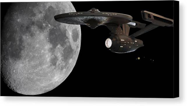 Star Trek Canvas Print featuring the photograph Uss Enterprise With The Moon And Jupiter by Jason Politte