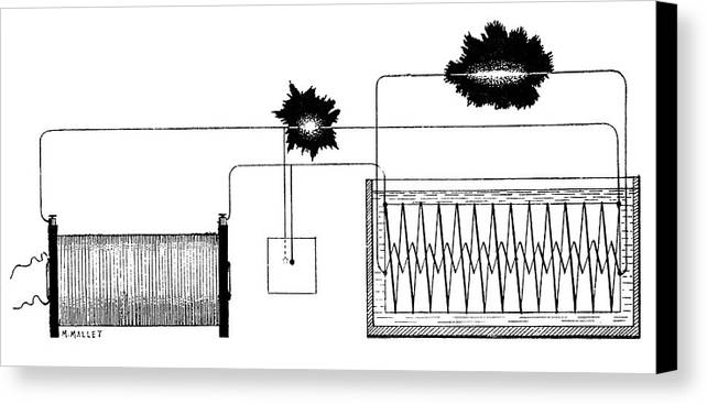Component Canvas Print featuring the photograph Ducretet Apparatus, 19th Century by