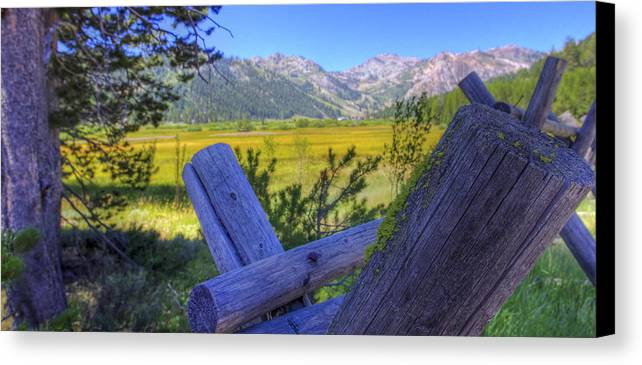 Scott M. Mcguire Photography Canvas Print featuring the photograph Rustic Moss Covered Pioneer Era Fence In Olympic Valley California by Scott McGuire