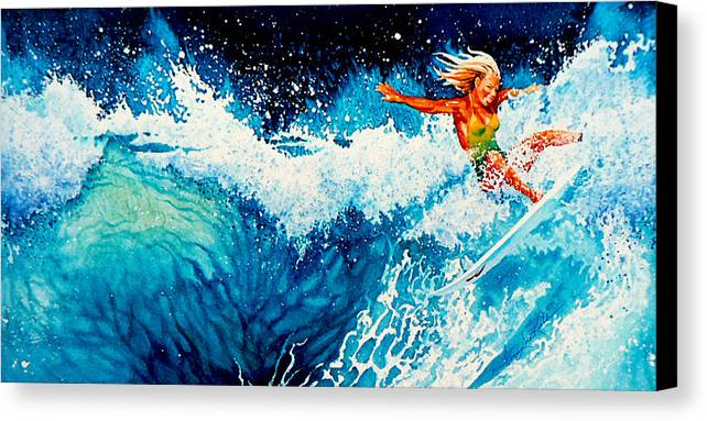 Sports Art Canvas Print featuring the painting Surfer Girl by Hanne Lore Koehler