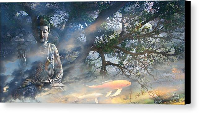 Buddha Canvas Print featuring the mixed media Universal Flow by Christopher Beikmann