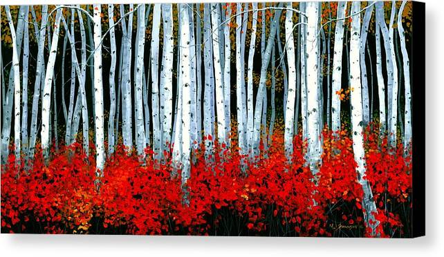 Birch Canvas Print featuring the painting Birch 24 X 48 by Michael Swanson