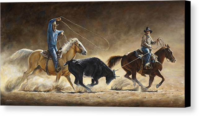 Cowboy Canvas Print featuring the painting In The Money by Kim Lockman