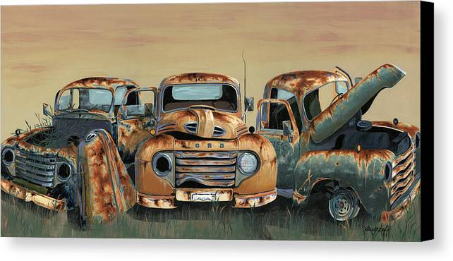 Truck Canvas Print featuring the painting Three Amigos by John Wyckoff