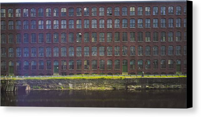 Merrimack River Canvas Print featuring the photograph Fly Fishing Lawrence Canal by Jan W Faul