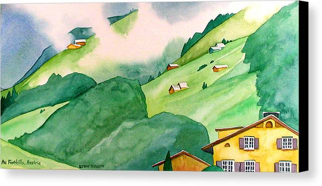 Au Canvas Print featuring the painting Foothills Of Au by Scott Nelson
