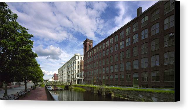 Merrimack River Canvas Print featuring the photograph Lawrnence Mills by Jan Faul