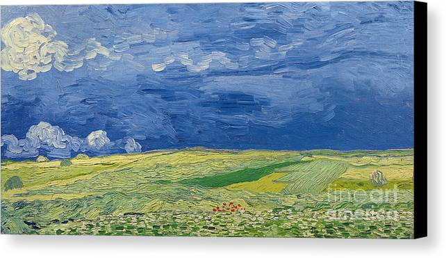 Field; Cloud; Sky; Landscape; Countryside; Post-impressionist; Auvers Sur Oise; French Canvas Print featuring the painting Wheatfields Under Thunderclouds by Vincent Van Gogh