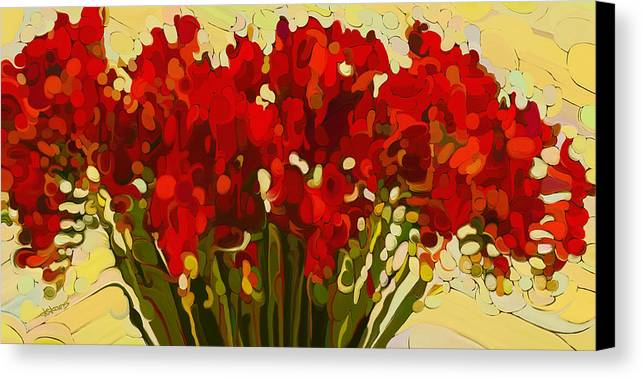 Red Bouquet Canvas Print featuring the painting Red Bouquet by Dorinda K Skains