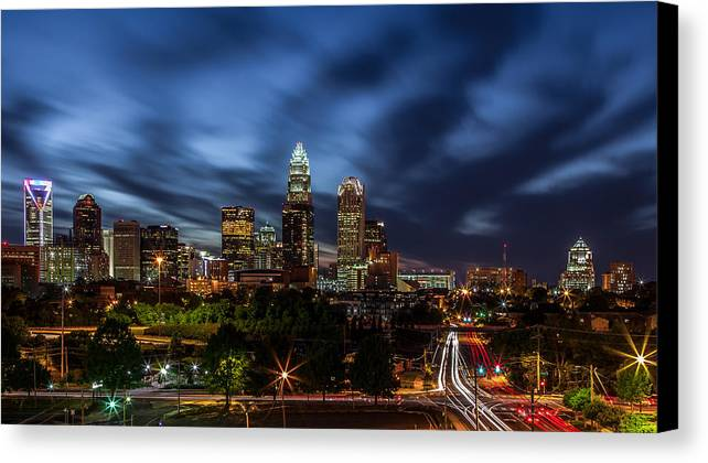 Charlotte Skyline Captured 04/13/12. Canvas Print featuring the photograph Busy Charlotte Night by Chris Austin
