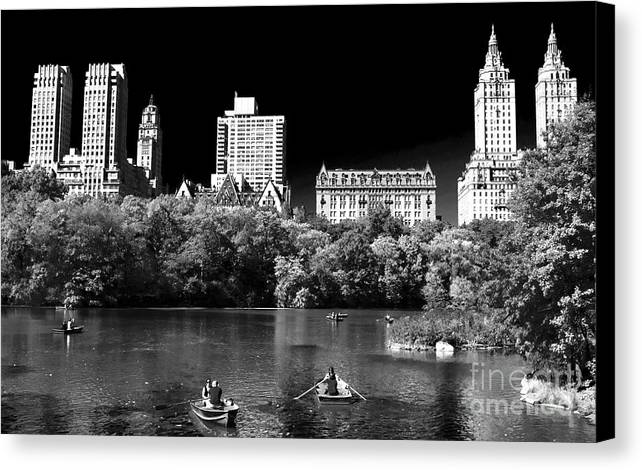 Rowing In Central Park Canvas Print featuring the photograph Rowing In Central Park by John Rizzuto