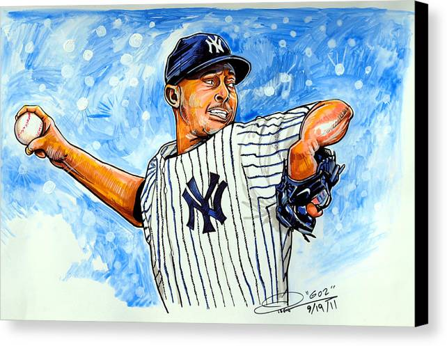 Mariano Rivera Canvas Print featuring the painting Mariano Rivera by Dave Olsen