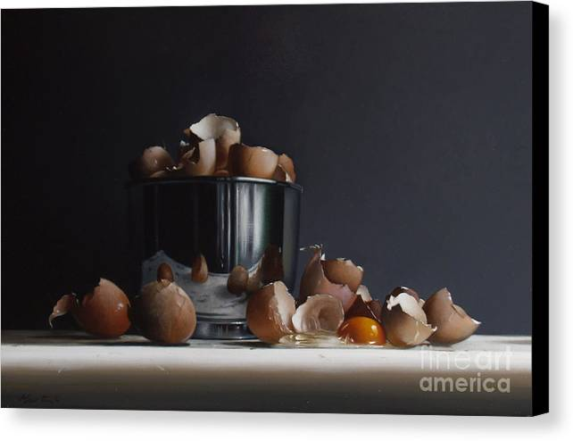 Still Canvas Print featuring the painting Mixing Bowl With Eggs by Larry Preston