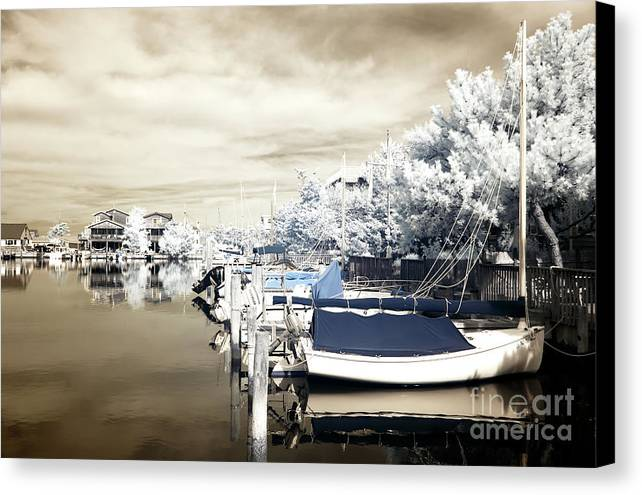 Infrared Boats At Lbi Canvas Print featuring the photograph Infrared Boats At Lbi Blue by John Rizzuto