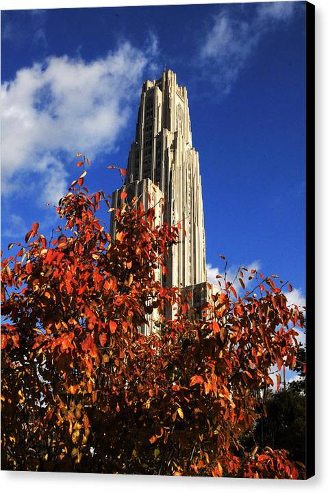 University Of Pittsburgh Canvas Print featuring the photograph Pittsburgh Autumn Leaves At The Cathedral Of Learning by Will Babin