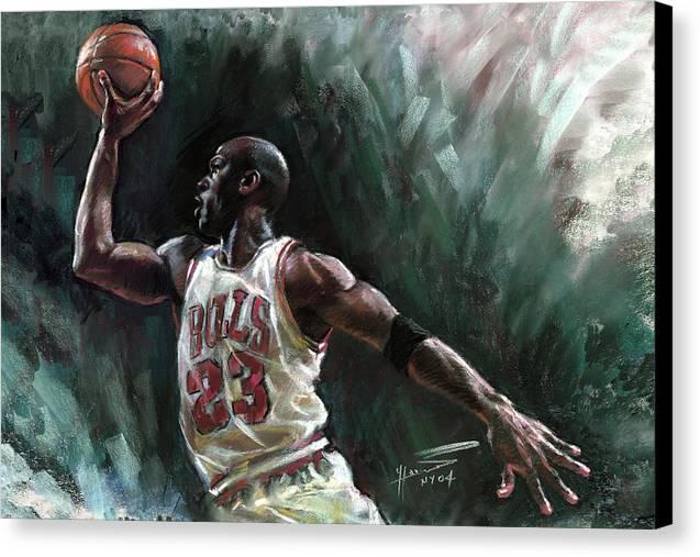 Michael Jordan Canvas Print featuring the pastel Michael Jordan by Ylli Haruni