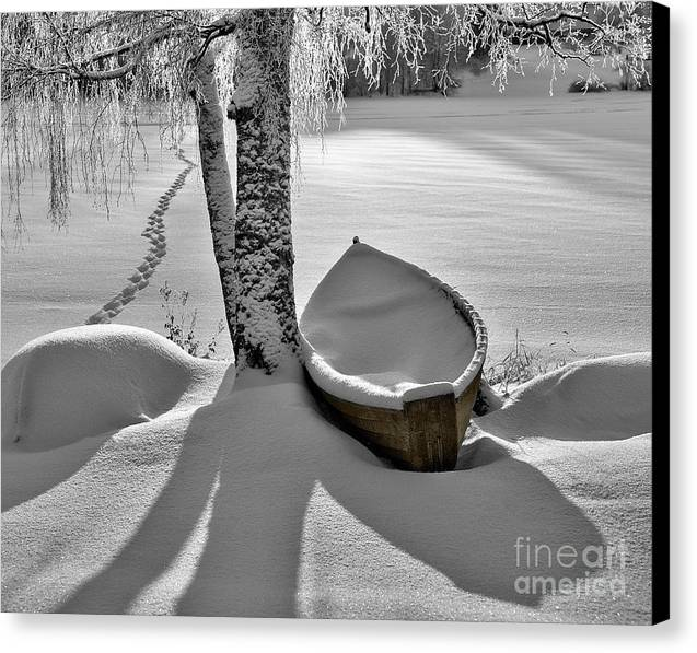 Rowboat Canvas Print featuring the photograph Bath And Snowy Rowboat by Ari Salmela