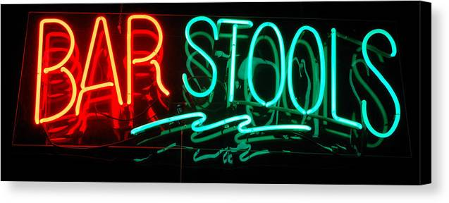 Neon Canvas Print featuring the photograph Neon Bar Stools by Steven Milner