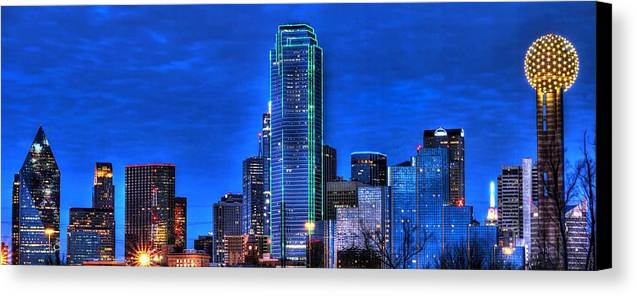 Dallas Canvas Print featuring the photograph Dallas Skyline Hd by Jonathan Davison