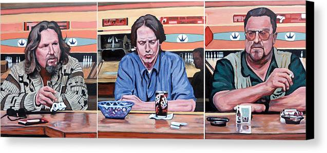 The Big Lebowski Canvas Print featuring the painting Pause For Reflection by Tom Roderick