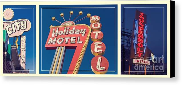 Neon Canvas Print featuring the photograph Vintage Neon Signs Trio by Edward Fielding