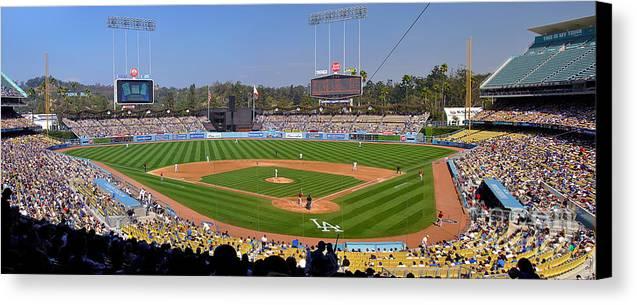 Dodgers Canvas Print featuring the photograph Dodger Stadium Panorama by Eddie Yerkish