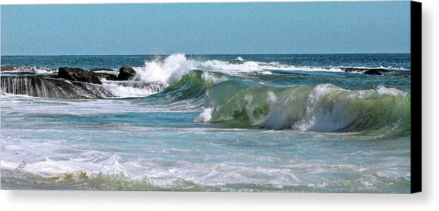 Blue Canvas Print featuring the photograph Stormy Lagune - Blue Seascape by Ben and Raisa Gertsberg