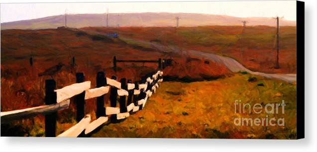 Long Canvas Print featuring the photograph Driving Down The Lonely Road . Long Version by Wingsdomain Art and Photography
