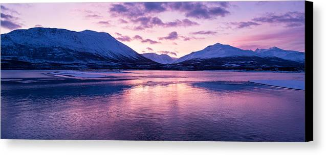 Beautiful Canvas Print featuring the photograph Twilight Above A Fjord In Norway With Beautifully Colors by Ulrich Schade