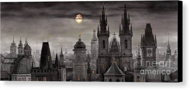 Cityscape Canvas Print featuring the painting Bw Prague City Of Hundres Spiers by Yuriy Shevchuk