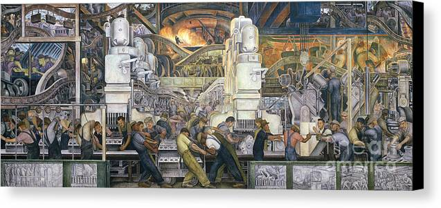 Machinery; Factory; Production Line; Labour; Worker; Male; Industrial Age; Technology; Automobile; Interior; Manufacturing; Work; Detroit Industry Canvas Print featuring the painting Detroit Industry  North Wall by Diego Rivera