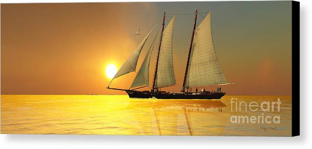 Sailing Canvas Print featuring the painting Light Of Life by Corey Ford