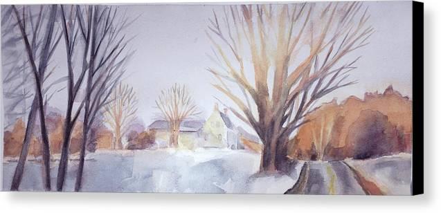 The Landscape Listens Canvas Print featuring the painting The Landscape Listens by Grace Keown