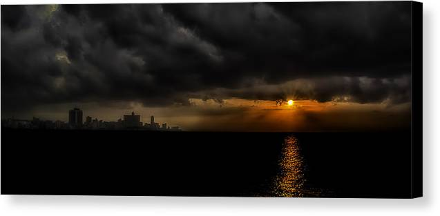 America Canvas Print featuring the photograph Sunset In Havana by Erik Brede