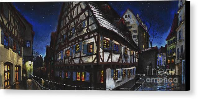 Pastel Canvas Print featuring the painting Germany Ulm Fischer Viertel Schwor-haus by Yuriy Shevchuk