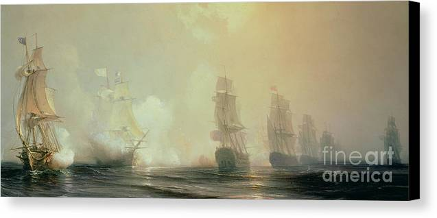 Boat Canvas Print featuring the painting Naval Battle In Chesapeake Bay by Jean Antoine Theodore Gudin